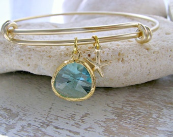aqua Bangle Starfish bangle Aquamarine bracelet starfish jewelry Aqua jewelry Beach Wedding Aquamarine Bridesmaid Gift  Beach Wedding March