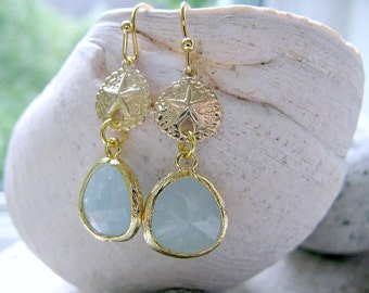 Sand dollar Earrings with alice blue stones alice blue earrings Beach Wedding Bridesmaids Earrings pair of earrings sand dollar earrings
