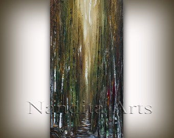 "SALE Oil Landscape painting Abstract Original Modern 48"" Palette knife Green Birch Tree oil impasto oil painting Home Decor by Nandita"