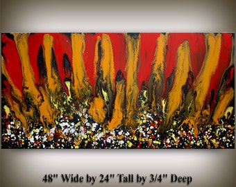 CONTEMPORARY ART,  Decorative Arts, Large original abstract landscape, Red huge paintings, Abstract Art online, fine art galley, by Nandita