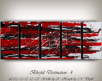 "Large Red Abstract painting, Wall Art, Red and Black, Contemporary Art, Abstract Art, 60"" Oil Painting on Canvas Wall Hanging, Home Decor"