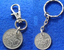 49th birthday gift 49th Birthday present 1967 lucky sixpence British coin keyring or bag charm unusual