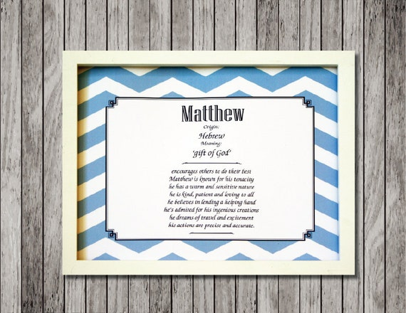 Baby Name Meaning Nursery Print with Character Traits ready to frame custom made for either boy or girl. Great baby shower gift