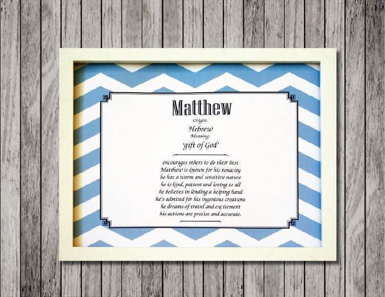 Baby name meaning nursery print with character traits ready to zoom negle Choice Image