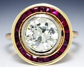 Art Deco 2.50ctw Bezel Set European Diamond & Ruby Rose Gold Engagement Ring
