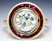 Art Deco 2.50ctw Bezel Set European Diamond & Ruby Rose Gold Engagement Ring