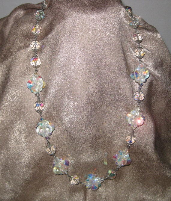 Fabulous and Sparkly Vintage Clear Aurora Borealis Crystal Clusters Florets Necklace