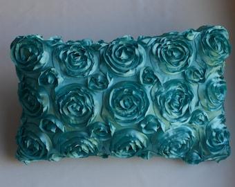 Textured Rose Rectangular Pillow Cover - Aqua