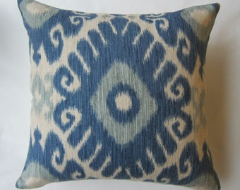 Shades of Blue and Ivory Ikat Decorative Pillow Cover from Jaclyn Smith Home Collection