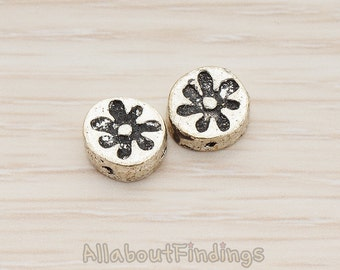 BDS952-AS // Glossy Antique Silver Plated Oriental Textured Round Metal Bead, 2 Pc