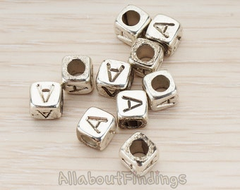 PDT1135-A-AS // Glossy Antique Silver Plated Initial Cube Metal Bead, 4 Pc