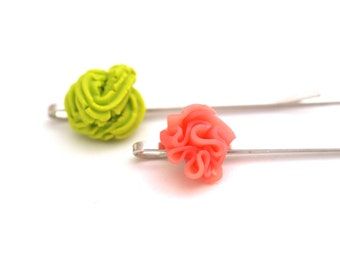 2 Wasabi & Ginger Hair Pins - Bobby Pins in Polymer Clay, Fimo Miniature Food Jewelry, Food Jewellery, Wasabi Hair Clip, Sushi Lovers, Japan