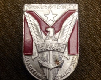WW2 United States Ships For Victory Award Of Merit Medal Badge A.E. Utica, NY Maritime Commission