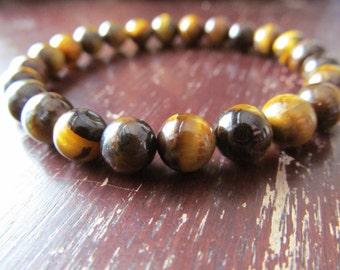 Tigereye Bracelet 8mm, Gemstone Bracelet, Natural Stone Bracelet, Yoga Bracelet, Energy Bracelet, Meditation Bracelet, Minimalist, Reiki
