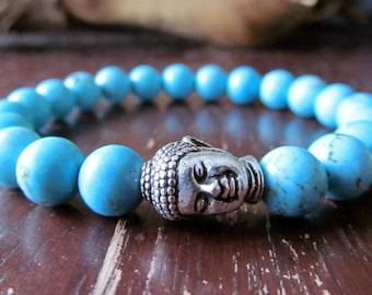 Turquoise Buddha Bracelet for Women or Men, Energy Bracelet, Wrist Mala Bracelet, Yoga Bracelet, Yoga Jewelry, Meditation Bracelet, Reiki