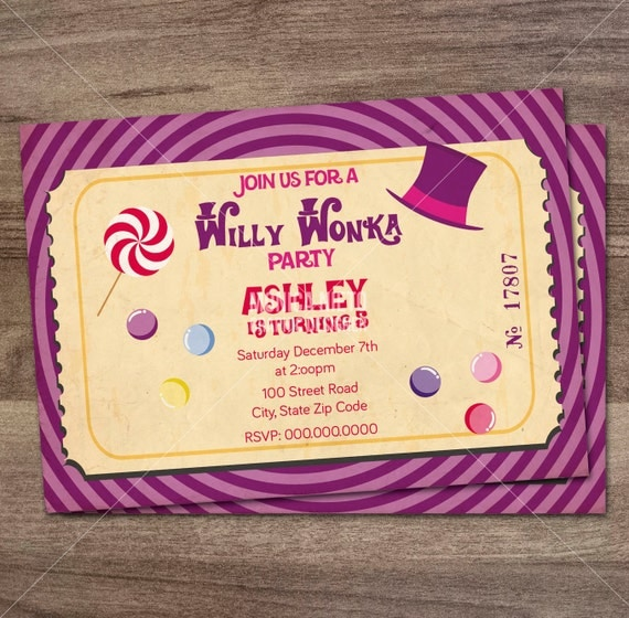 Willy Wonka Birthday Party Invitation/ Charlie and the Chocolate Factory/ Boys or Girls ...