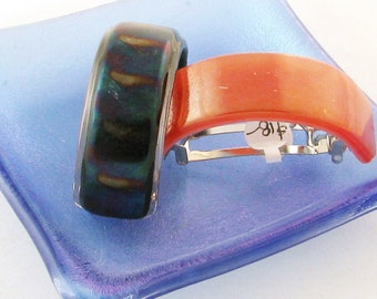 Pony tail holder - Fused Glass pony tail holder - Coral or Browns - French style ponytail barrette (3322-3318)