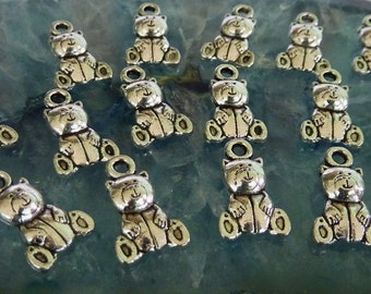 50 Cute Silver Teddy Bear Charm Pendants 9mm x 15mm