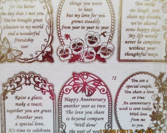 Gold embossed anniversary sayings stickers 652871g