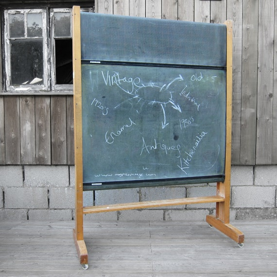 1950s School Rolling Blackboard Chalkboard Perfect Menu Board For Vintage Industrial Style Pub Bar Restaurant