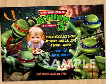 view tmnt ninja turtles by kidspartyprintables on etsy, Party invitations