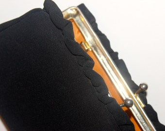 Vintage 1950s-60s Black Ruffled Clutch