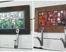 Two Hook Custom Coat Rack, Mosaic Coat Rack, Hand-forged Entryway Coat Hooks, Wall Coat Rack, Reclaimed Wood Frame