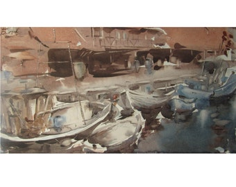 Fishing port in Wismar - Baltic seascape - original watercolor