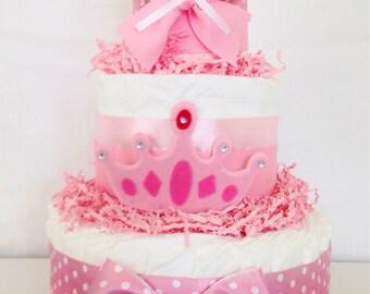 3 Tier Pink Princess Diaper Cake, Princess Baby Shower Centerpiece, Girl Diaper Cakes