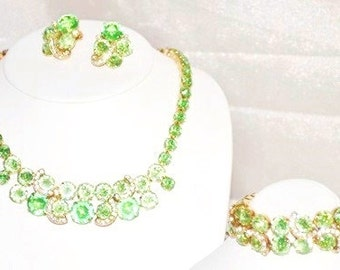 Signed Eisenberg Rhinestone Necklace Bracelet Earrings Matching Set