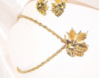 Vintage Signed Tortolani Necklace with Matching Earrings Set