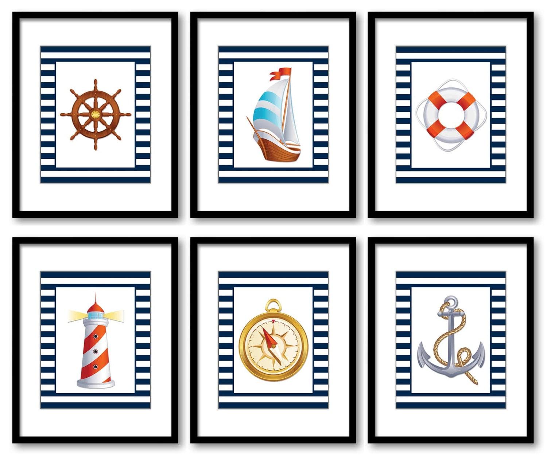 Nautical Ocean Marine Navy Boys Art Print Sailboat Anchor Lighthouse Nursery Art Nursery Print Baby