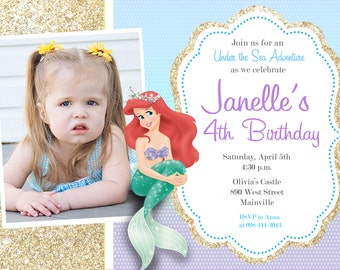 Little Mermaid Ariel Birthday Party Invitation - Printable or Printed