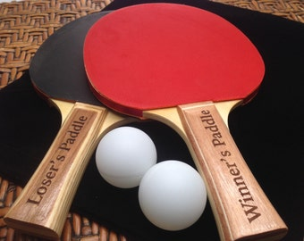 Set of 2 Ping Pong Paddles PERSONALIZED Black/Red with Engraved Handles, 2 blank Ping Pong Balls, groomsmen gift, wedding party gift
