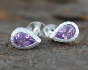 Amethyst Studs, Amethyst Earrings, Teardrop Studs, Stud Earrings, Gemstone Studs, Round Studs, February Birthstone, 925 Silver Earrings