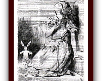 Alice in Wonderland Poster Art Print: upcycled  dictionary pages musical Notes Art Print 8x10