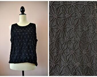 Star beaded silk top • vintage black abstract pattern beading tank sleeveless shirt