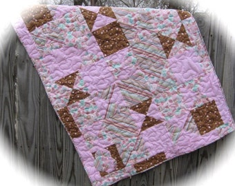 Pink and brown and polka dot and stripes baby girl  quilt .