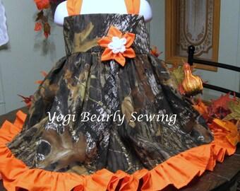 Girls Camo Dress, Girls Camo Wedding Dress.  Flower Girl Camo dress.