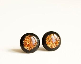Christmas In July Orange Glitter Stud Earrings, Glitter Studs, Ear Studs, Mens Earrings, Tiny Ear Posts, Orange Earring Studs