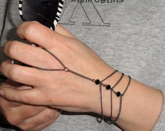 Gunmetal Slave bracelet, Black crystal slave bracelet ring, Hand bracelet, Bead slave bracelet, hand bracelet, Slave bracelet UK