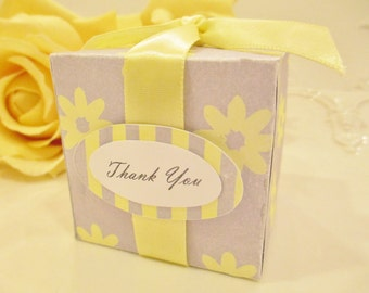 10 Yellow and Gray Wedding Favor Box, Yellow and Grey Baby Shower Favor Box, Yellow and Gray Bridal Shower Favor Box, Wedding Favor Boxes