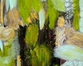 Abstract Painting with Green, Gold, Light Blue, and Black, Original Small Acrylic Art