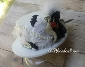 Boo to you Halloween ghost top hat, ghostly mad hat, white and black ghost top hat, boo-tiful white and black detail promp hat