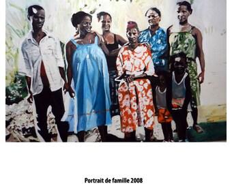 SALE - CUSTOM ORDER - Portrait de Famille by Amour (Family Portrait) - 2008 - Oil on Canvas - 40cm x 50cm
