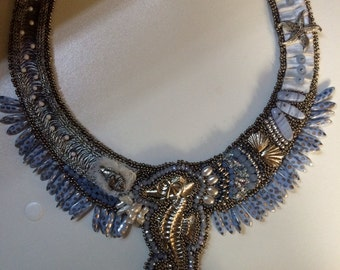 SOLD. Bead Embroidery Beach Collar