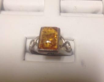 BeautifulSterling Silver and Natural Amber Ring