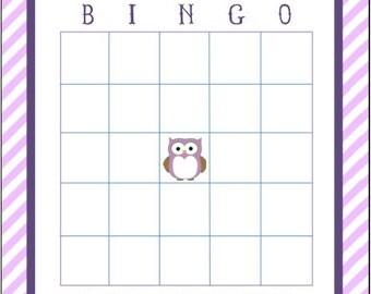 Owl Baby Shower BINGO game board
