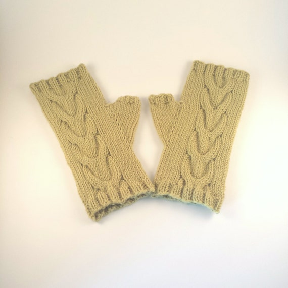 Fingerless Gloves Knitting Pattern Magic Loop : Double Cable Mittens Knitting Pattern for Women. PDF ...
