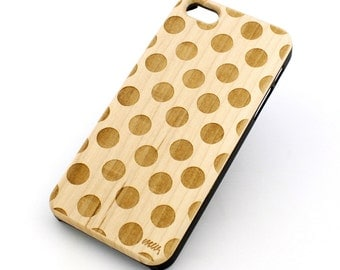W15 Real Wood W Plastic Case Cover For Iphone 4 4s Polka Dot